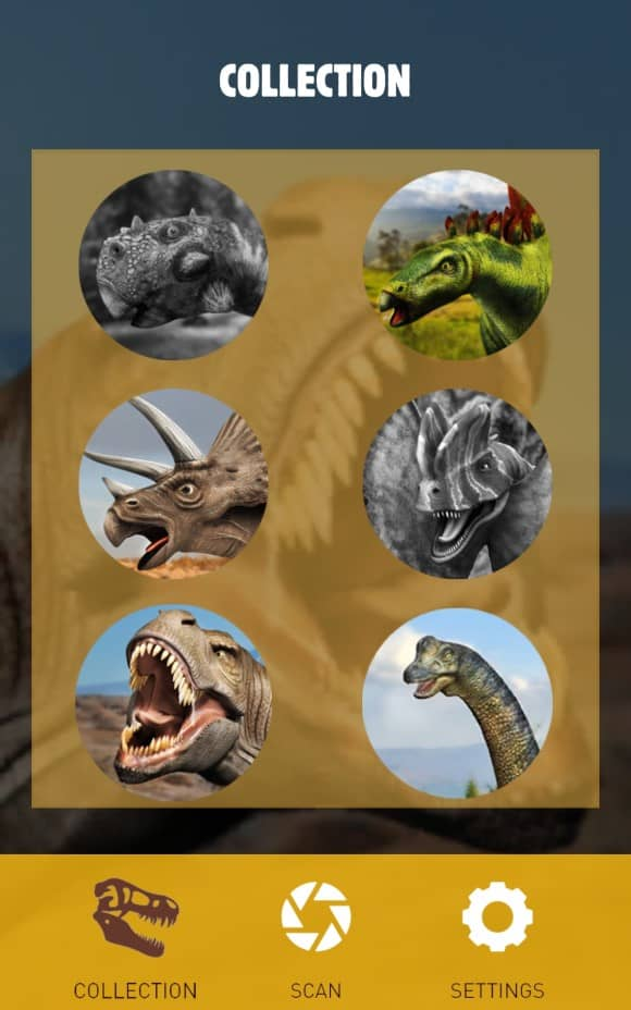 Bk Dinos Augmented reality - Collection Menu