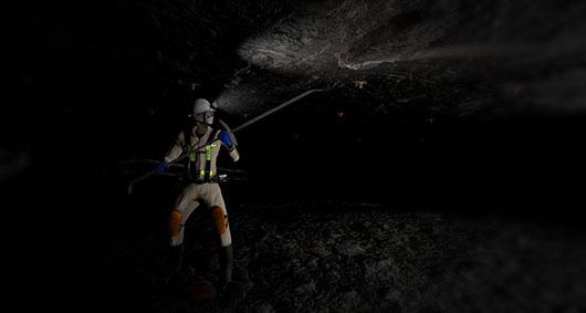 Man Barring in underground mine