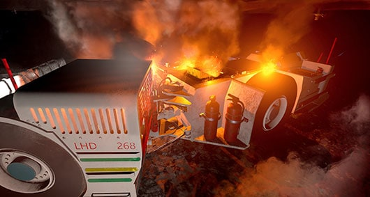 LHD Mining vehicle on fire
